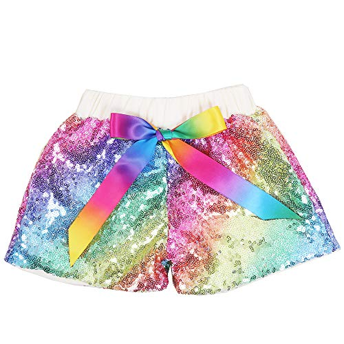 Cilucu Baby Girls Sequin Shorts Toddlers Sparkle Short Pants Kids Birthday Shorts Kids Birthday Shorts Glitter on Both Sides Rainbow Ivory 2t