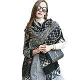 DANA XU 100% Pure Wool Women's Large Traditional Cultural Wear Pashmina Scarf (Black)