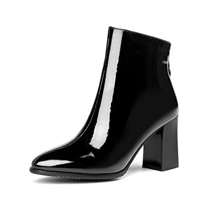 Amazon Nine Seven Patent Leather Womens Round Toe Ankle