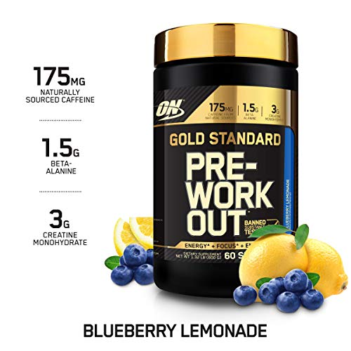 OPTIMUM NUTRITION GOLD STANDARD Pre-Workout with Creatine, Beta-Alanine, and Caffeine for Energy, Keto Friendly, Blueberry Lemonade, 60 Servings (Blueberry Creatine)