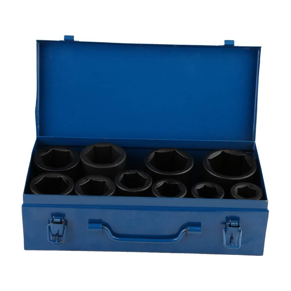 Impact Socket Set,10pcs 22-50mm 1 Inch Chrome Vanadium Steel Deep Impact Socket Set Long Reach Impact Sockets Tool with Blue Case