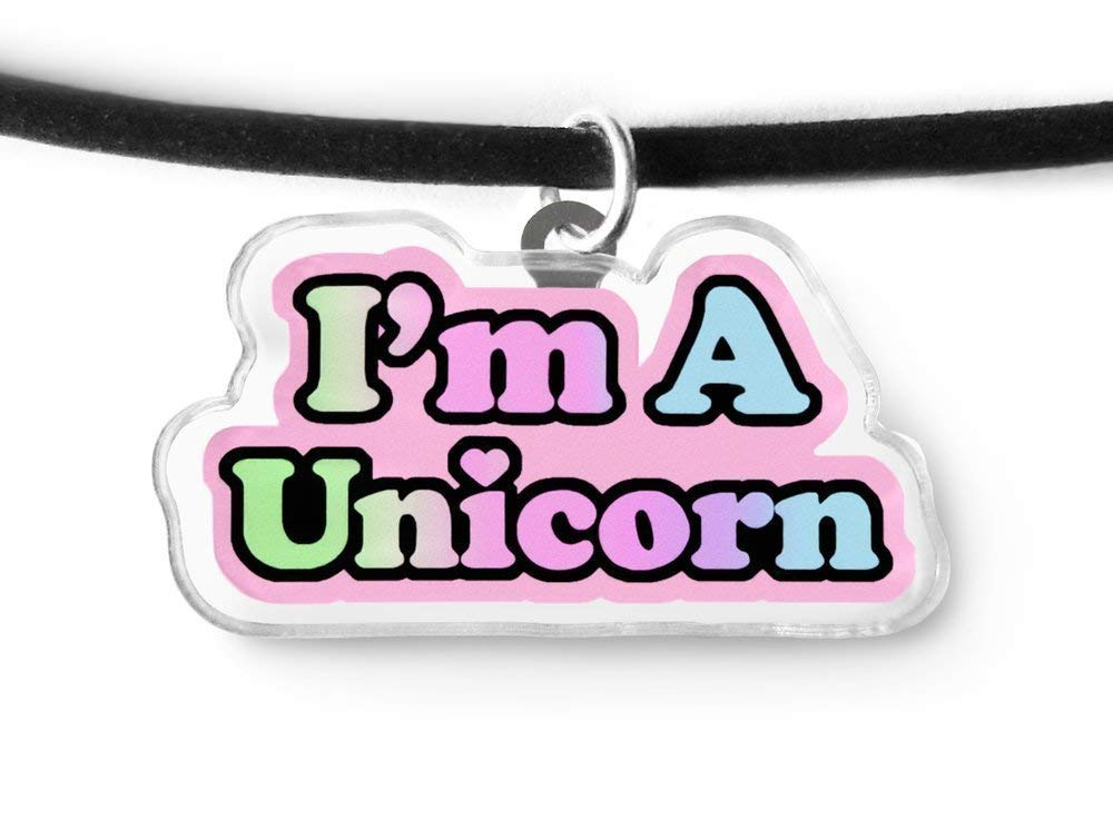 I'm A Unicorn Charm Choker - Rainbow Unicorn, Fairy Kei, Kawaii Kei, Pastel Grunge, Soft Grunge Choker 3