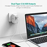 USB Type-C RAVPower 36W Dual USB C Wall Charger with 1 Power Delivery Port for MacBook, Dell XPS 13, Nexus 5X/6P and iSmart for iPhone, iPad, Samsung and More (White)