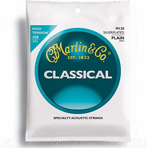 Martin M120 Silverplated Classical Guitar Strings, High (High Tension Classical Strings)