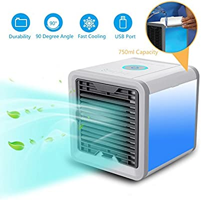 Personal Space Air Cooler, Hinmay 3 in 1 USB Mini Portable Air Conditioner, Humidifier, Purifier and 7 Colors Nightstand, Desktop Cooling Fan for