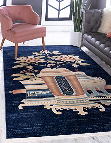 - Unique Loom Gansu Collection Floral Antique Finish Chinese Pattern Navy Blue Area Rug (8' 0 x 10' 0)