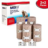 Elastic Compression Bandage Wrap - Premium Quality (Set of 4) with Hooks, Athletic