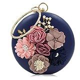 EPLAZA Women Floral Rhinestone Beaded Wristlet Clutch Bags Purse Evening Party Bridal Handbag (deep blue)