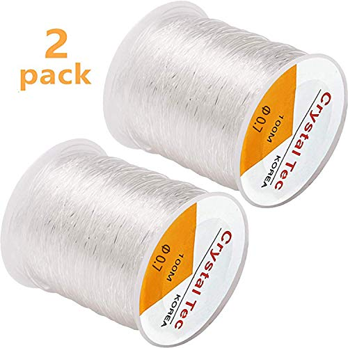 2Pack 0.7mm Elastic String, Jewelry Cord, Elastic Bracelet Rope Crystal Beading Cords, Transparent Elastic Beaded Line, Can Easily Pass Through Beaded Jewelry, Suitable for DIY Jewelry Making