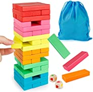 Coogam Wooden Blocks Stacking Game with Storage Bag, Toppling Colorful Tower Building Blocks Balancing Puzzles