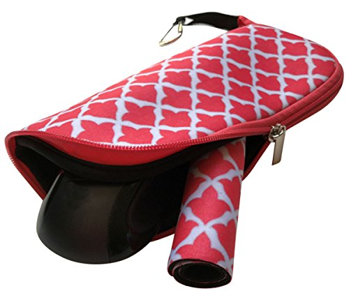 Travel Mouse Case Electronics Organizer Bag | Laptop Cord Cable Accessory Pouch with Extra Rolled Up Travel Mouse Pad | Pouch Also Unzips Flat Into Mouse Pad (Coral)