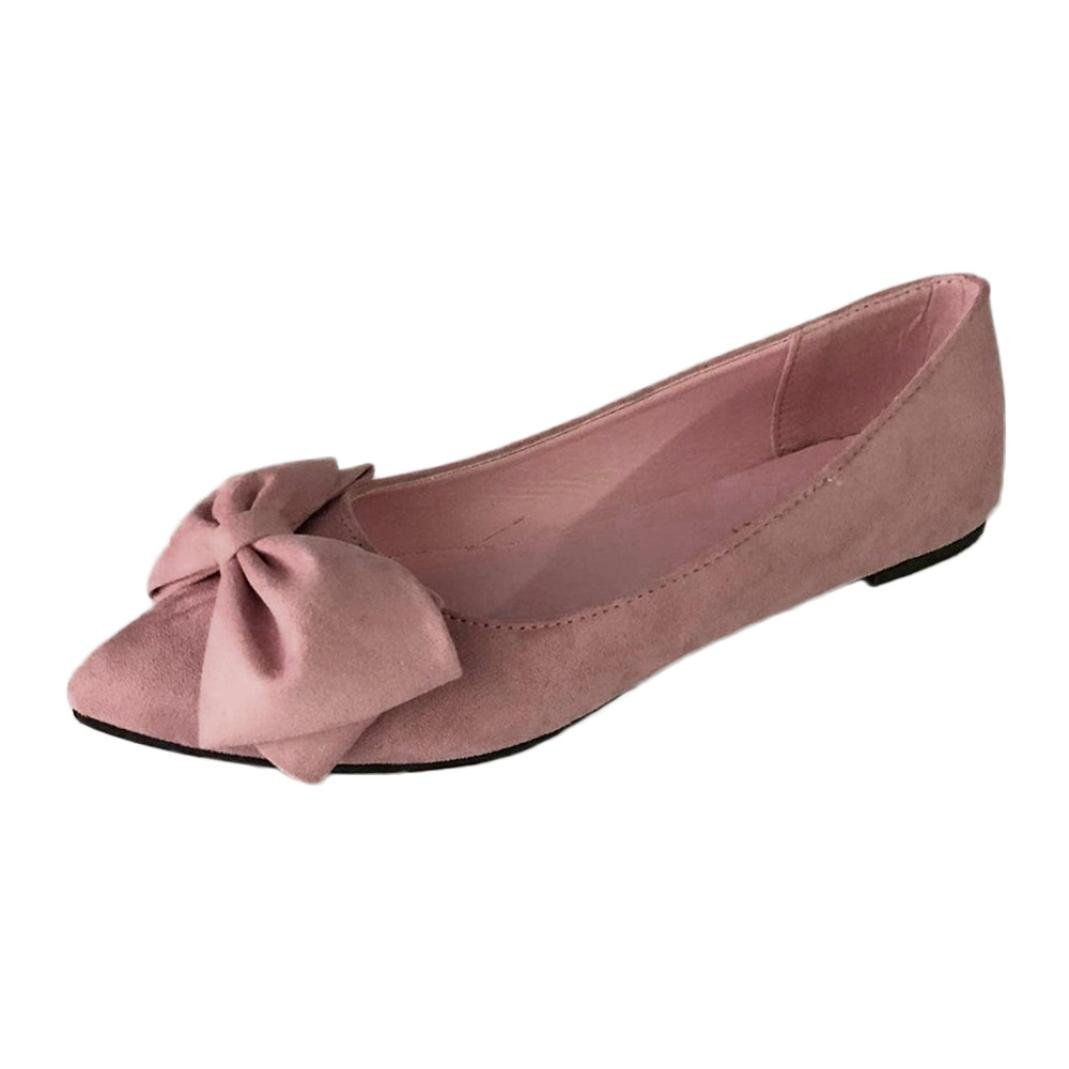 DENER Women Ladies Girls Flat Shoes,Flock Bow Pointed Toe Slip on Wide Width Comfort Business Casual Boat Shoes (Pink, 38)