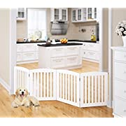 PAWLAND Wooden Freestanding Foldable Pet Gate for Dogs (24  Height 4 Panel, White)