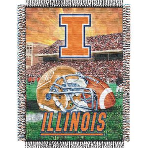 The Northwest Company Officially Licensed NCAA Illinois Illini Home Field Advantage Woven Tapestry Throw Blanket, 48
