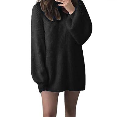 ZORE Women Sweater Mujer Chica sólido O-Cuello Sueltos de Punto Caliente Largo Posterior Manga