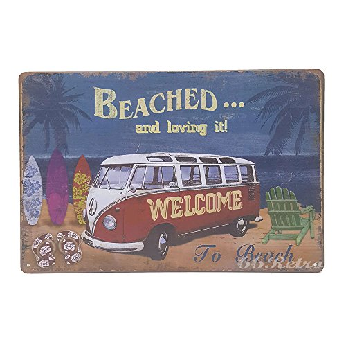66Retro Welcome Beached and loving it!, Vintage Retro Metal Tin Sign, Wall Decorative Sign, 20cm x 30cm