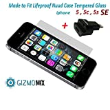[BUNDLE] Lifeproof Nuud Tempered Glass Screen Protector For iPhone 5 5c 5s SE Case nüüd + 8 pin Lightning Dock extender (never remove case again) - Gizmomix Inc