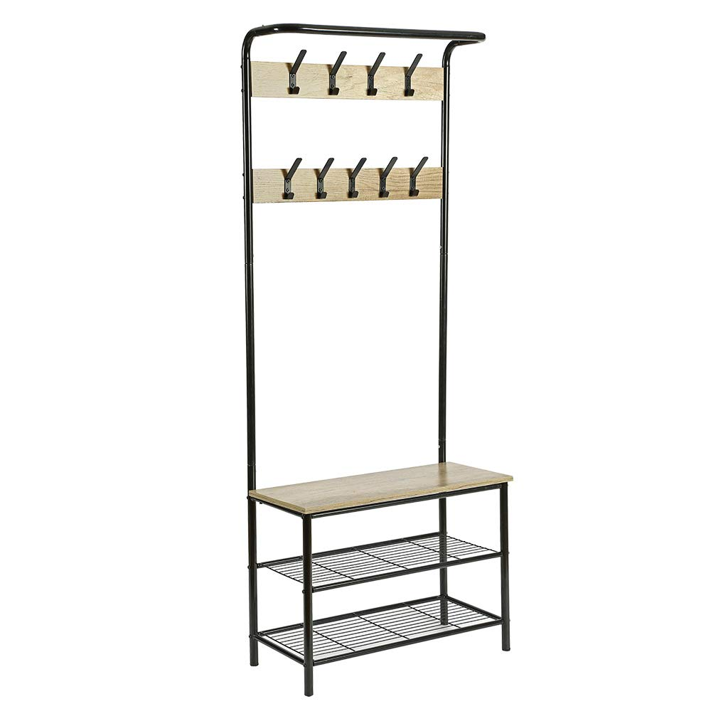 HOMEFORT Entryway Hall Tree, Metal Coat Rack with Shoe Bench, Coat Stand with 9 Hangers and 3-Tier Metal Storage Rack,3 in 1 Design, Perfect for Closet, Living Room and Bedroom,28.35''W x 13.19''D x 71. by HOMEFORT