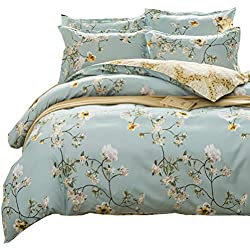Uozzi Bedding 3 Piece Floral Duvet Cover Set King, Reversible Printing with Brushed Microfiber,Flower Style Lightweight Soft, Comfortable, Durable (Light Blue,Floral Style, King)