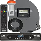 Complete HD FTA Satellite System Manhattan RC-1978 HD Receiver LNB and Dish With Meter