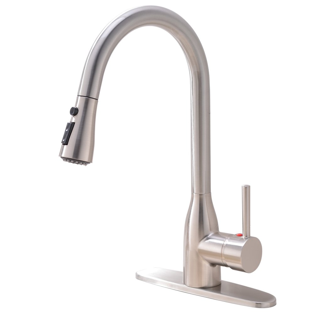 Modern Commercial Stainless Steel Single Hanlde Pull Down Sprayer Brushed Nickel Kitchen Faucet, Kitchen Sink Faucet With Deck Plate