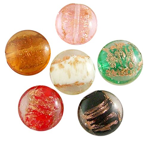 nbeads 200pcs Handmade Gold Sand Lampwork Beads, Flat Round, Mixed Color Gold Lampwork Beads