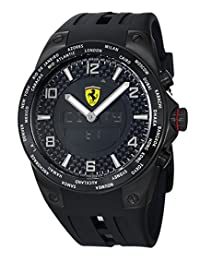 Ferrari Men's World Time Black Analog Digital Dial Black Strap Watch