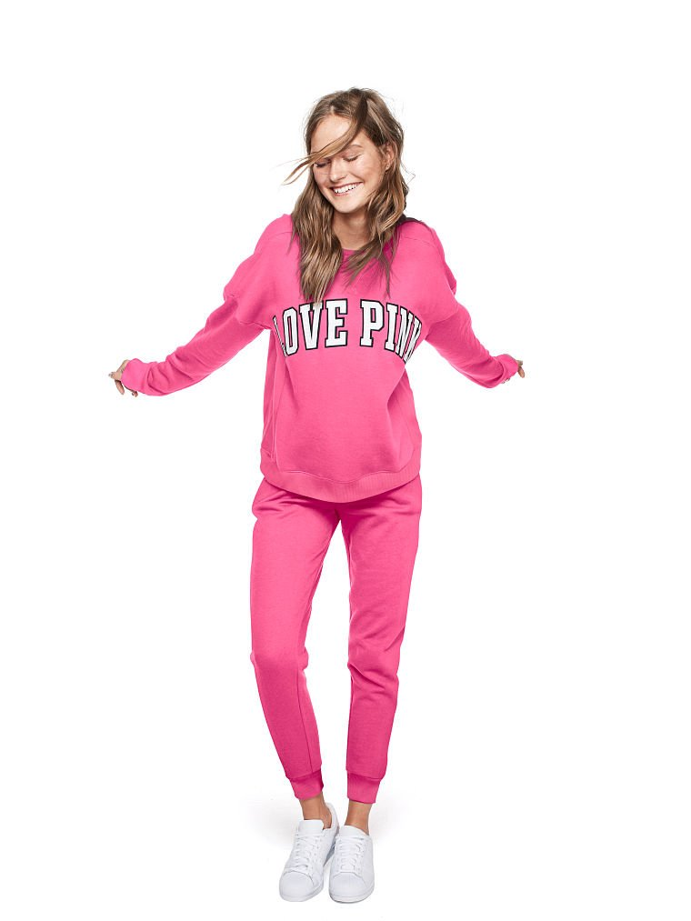 VS. Victoria 's Secret Pink Love Pink Boyfriend Crew & Classic Jogger Small Pink on Fleek