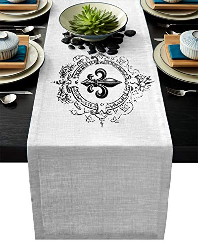 IDOWMAT Linen Burlap Table Runner Dresser Scarves 14 x 72 Inch, Vintage Royal Fleur De Lis Iris Flower Kitchen Table Runners for Farmhouse Dinner, Holiday Parties, Wedding, Events, Decor ()
