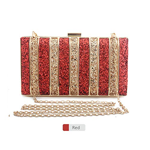 Panelled Sequin Clutch Rhinestones Evening Bag For Women Bridesmaid Chain Bags Purse Red
