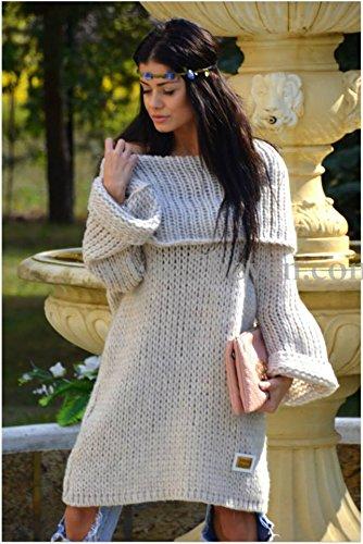 Bellissimo Taglia alto collo XL L M maxipulli Beige donna Unica Maglione Pullover Chiaro rBxnYqCHwr