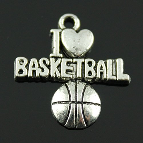 NEWME 40pcs I heart basketball Charms Pendant For DIY Jewelry Wholesale Crafting Necklace Making (antique silver)