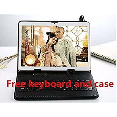 2019 New 10 1 inch Android 8 0 tablet Deca Core 4GB RAM 64GB ROM 2560 1600 resolutions WiFi Bluetooth Dual SIM Cards LTE Tablets  Free protecting cover Plus keyboard   gold