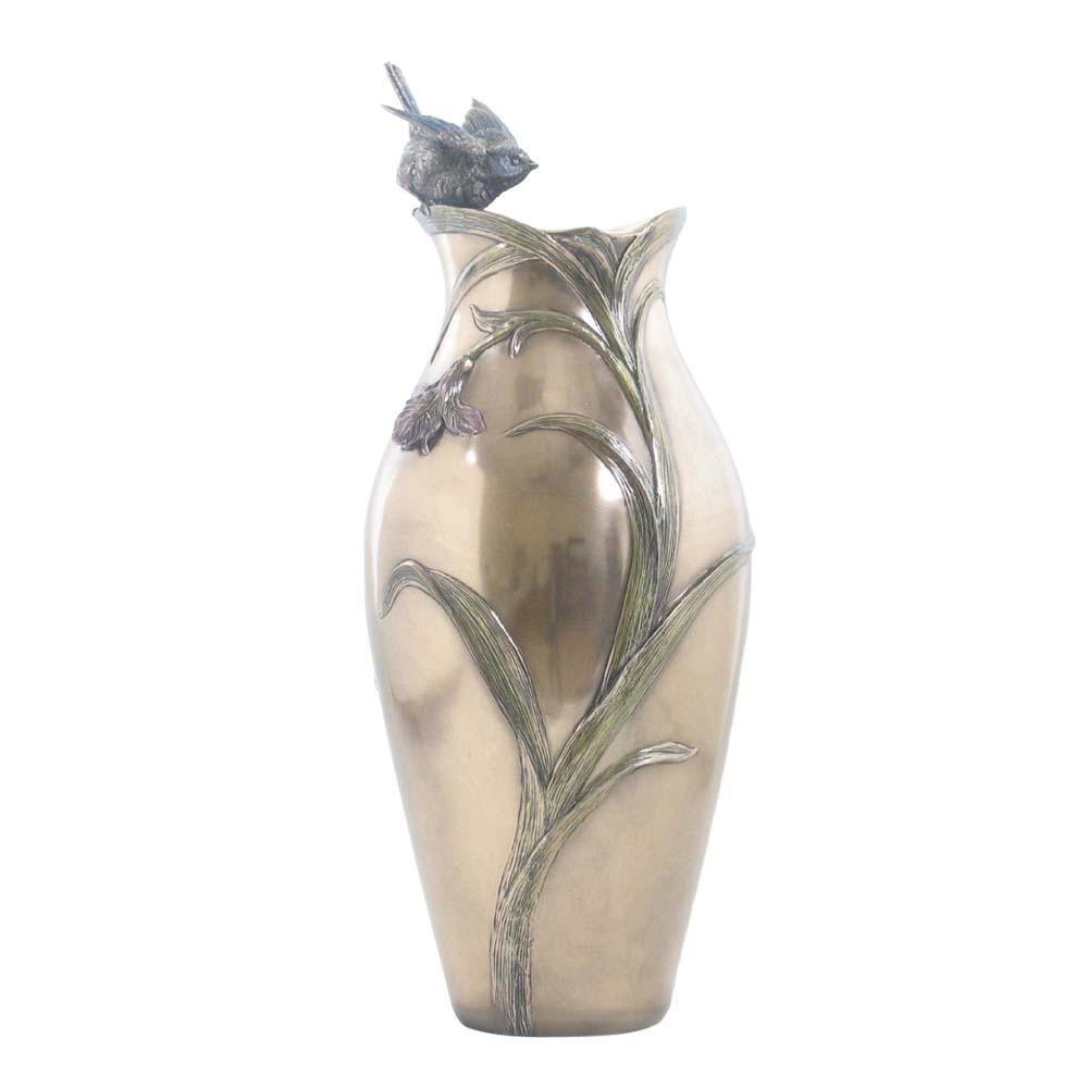 XoticBrands Bird Vase Decorative Tit Animal Statue, Bronze Finish