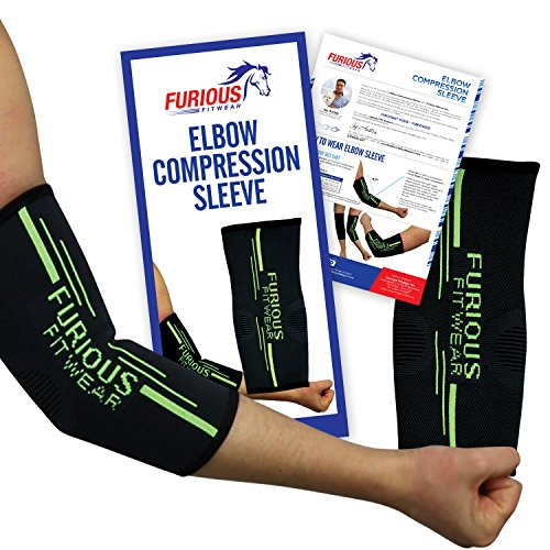 Elbow Compression Sleeve Support for Golf & Tennis Elbow, Ulnar Nerve & Cubital Tunnel, Bursitis, Biceps, Triceps & Arm Tendonitis for Basketball, Weightlifting, Workout & Athletic Sport - Single Wrap