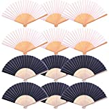 Xgood 12 Packs Folding Fans Hand Held Silk Bamboo Women Portable Folded Fan Chinese Fan Gifts DIY Party Decorations(6 Black+6 White)
