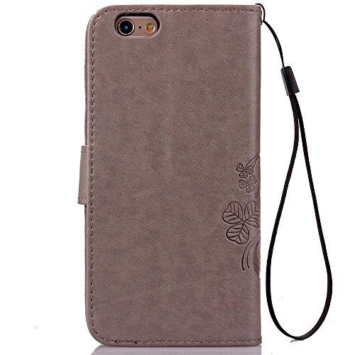 Voguecase® Pour Apple iPhone 6 Plus/6s Plus 5,5 Coque, Etui Housse Cuir Portefeuille Case Cover (Trèfle à quatre feuilles-Gray)de Gratuit stylet l'écran aléatoire universelle