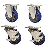 Service Caster – 3'' Blue Polyurethane Wheel – 2 Rigid and 2 Stainless Steel Swivel Casters w/Brakes – Set of 4