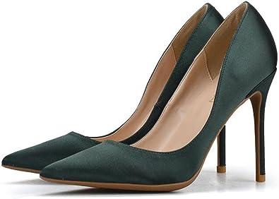 Zapatos con Tacon Alto para Mujer Elegante Fiesta Zapatos (Verde,35)