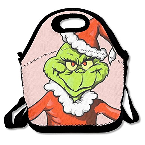 Cartoon Christmas Grinch Stole Pink Lunch Bags Insulated Lunchbox Tote Handbag With Shoulder Strap For Women Teens Girls Kids Adults