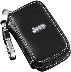 Zepthus Black Car Key Chain Bag Premium Leather Car Key Chain Coin Holder Zipper Case for Auto Remote Key Fob Jeep