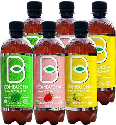 Imported Raw Organic Kombucha Probiotic Raspberry, Lemon and Clarity (Variety Pack, 16 oz 6 pack)