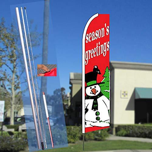 Fiberglass Snowman - SEASON'S GREETINGS (Red/Snowman) Flutter Feather Flag Bundle (11.5' Tall Flag, 15' Tall Flagpole, Ground Mount Stake)