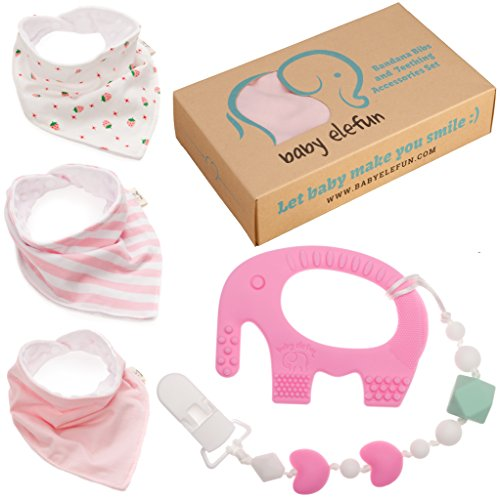 Valentines Gifts For Girls - Unique Matching Set of Teether Pacifier Clip, Pink Elephant Teething Toy, 3 Pack Bandana Drool Bibs, 100% Safe BPA Free Silicone, Best for 0 3 6 Months Old Newborn Infant (Baby Basket Gift Mother)