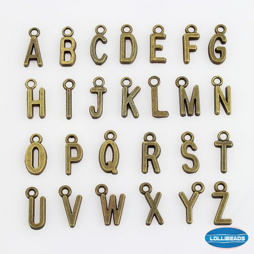 LolliBeads (TM) 2 Sets of Letter Charms Pewter Antiqued Brass Bronze Bracelet Charms Dangle Hanger Necklace Pendants - Alphabetic (52 ()