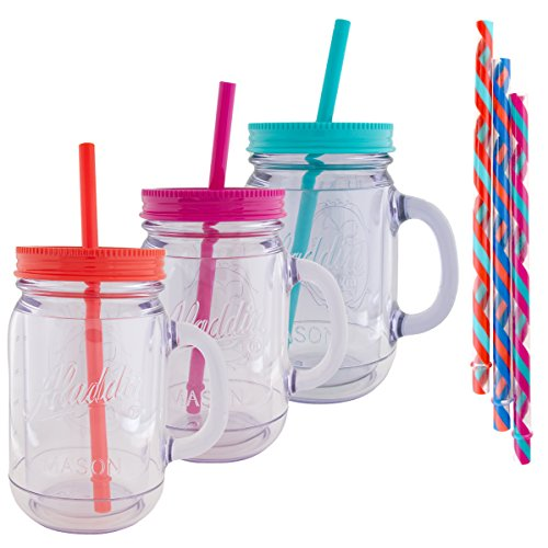 Large Plastic Mug - Aladdin (3 Pack) 20oz Plastic Mason Jar Tumbler With Straw and Lid Temperature Control Travel Home