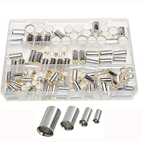 - Terrans 150pcs 4Types(AWG 4,2,1,2/0) Wire Silver Plated Copper Crimp Connector Non Insulated Cable Housing Ferrule Pin Cord End Terminal Assortment Kit