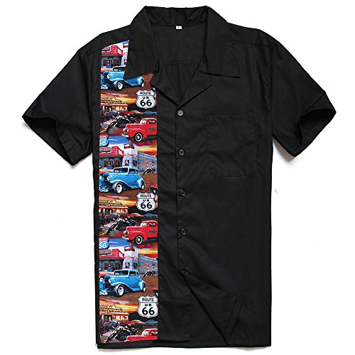 (Candow Look Route 66 Cars Printed Camp Retro Short Sleeves Shirts)