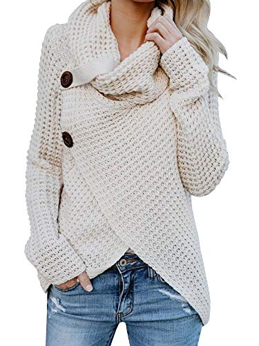 Neck Knit Cowl Sweater (Shele Womens Turtleneck Sweater Warm Cable Knitted Loose Button Wrap Asymmetrical Pullover Tops (S, white))