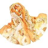 Clearance! Chiffon Scarfs For Women Fashion Lightweight Soft Large Retro Shawl Wrap Floral Print Long Head Scarfs (Orange)